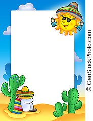 Mexican frame with sun - color illustration.