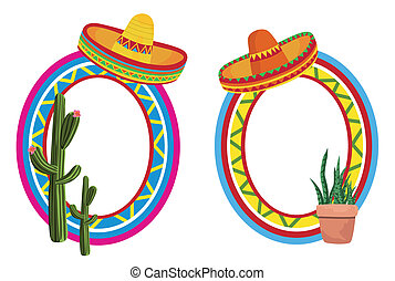 Mexican Frames - Frame illustrations with the sombrero and...
