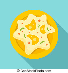 Mexican fried egg icon, flat style