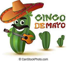 Mexican fun cactus in sombrero plays guitar