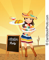 Mexican girl for fiesta - illustration of Mexican girl for...