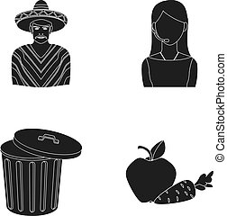Mexican, girl telephone operator and other web icon in black style. garbage can, apple and carrot icons in set collection.
