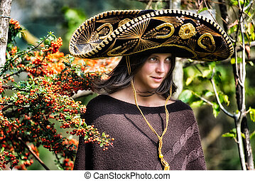 Mexican girl with sombrero