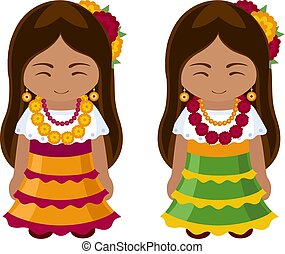Mexican girls in national dress.