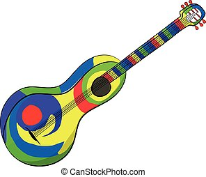 Mexican Guitar on the white background