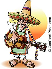 Mexican guitar player - Vector cartoon illustration of a...