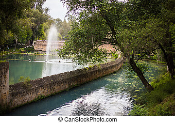 Mexican, hacienda, ranch plaza and lake. Decorative...