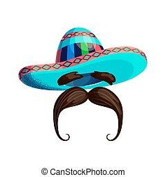 Mexican hat and mustache Isolated on a white background. Colored cartoon mexico sombrero. Retro barbershop symbol. Holiday Cinco de mayo, Mexican sombrero hat. Sign, symbol, elements. Mexico, carnival.