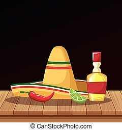 Mexican hat and tequila od cartoons