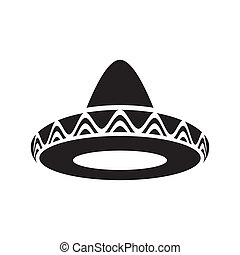 Mexican hat - Black vector mexican hat sombrero icon...