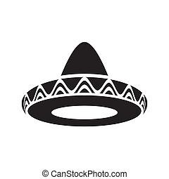 Mexican hat - Black vector mexican hat sombrero icon ...