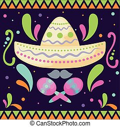 mexican hat with maracas, mexican food vector illustration...