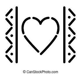 mexican heart icon on white background