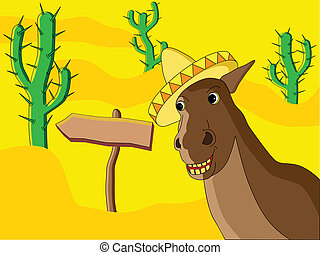 Mexican Horse - Vector image of mexican horse in a desert.