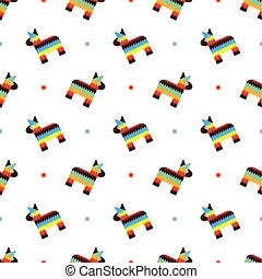 Mexican horse pinata pattern - Seamless pattern with toy...