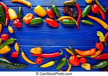 Mexican hot chili peppers colorful mix