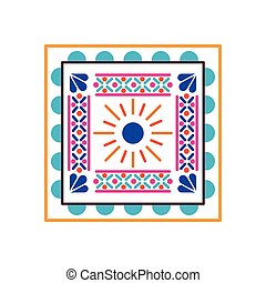 mexican icon of a sun with colors in square on white background