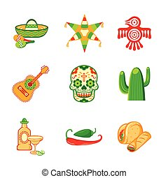 Mexican icons - Colorful culture symbols, food and objects ...