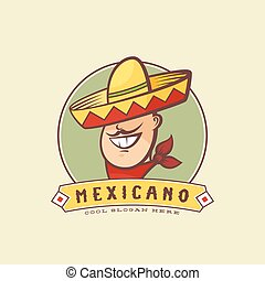 Mexican in Traditional Sombrero Abstract Vector Sign or Logo Template. Smiling Man with Mustache and Hat Symbol.