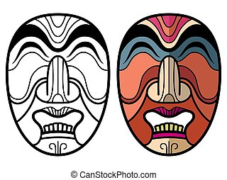 Mexican indian aztec traditional masks isolated on white...