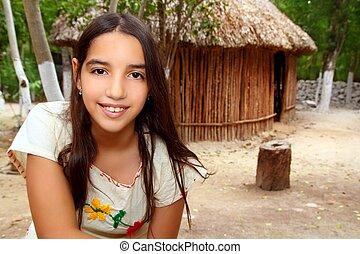 Mexican indian Mayan latin girl in jungle cabin house