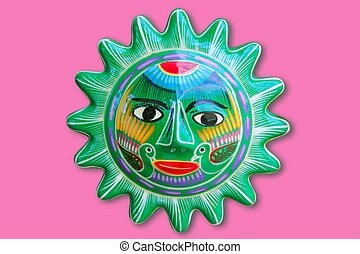 Mexican indian sun handcraft ceramic isolated