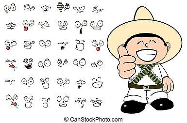 mexican kid cartoon emotions set1