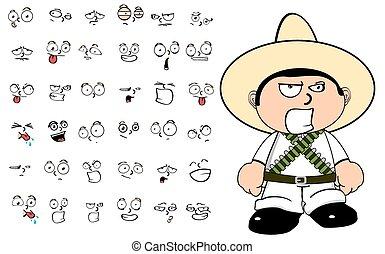 mexican kid cartoon emotions set2