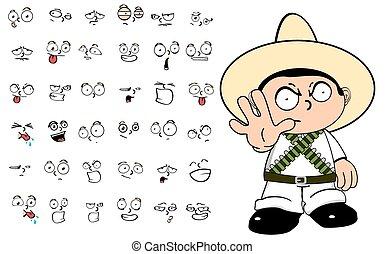 mexican kid cartoon emotions set4