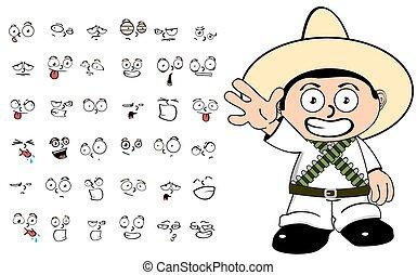mexican kid cartoon emotions set5
