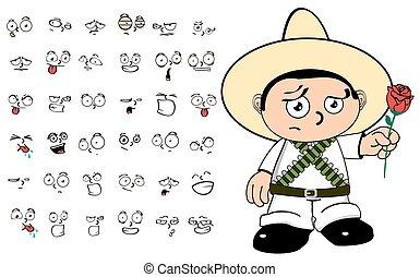 mexican kid cartoon emotions set6