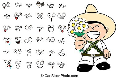 mexican kid cartoon emotions set7