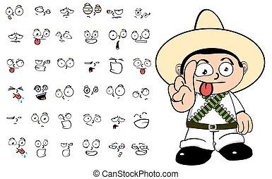 mexican kid cartoon emotions set8