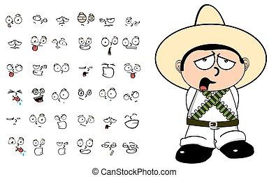 mexican kid cartoon emotions set9