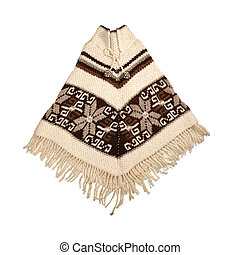 Mexican knitted poncho isolated