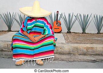 Mexican lazy man sit serape agave guitar nap siesta typical...