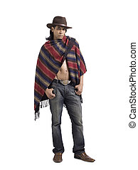 Full length image of a Mexican male wearing a hat and a traditional Mexican shawl