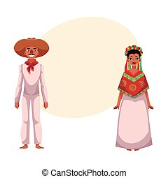 Mexican man and woman in traditional casual national clothes