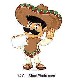 Mexican man cartoon holding business card