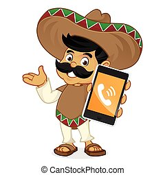 Mexican man cartoon holding phone