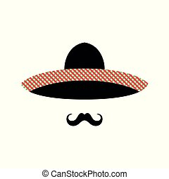 Mexican man face with sombrero and mustache.