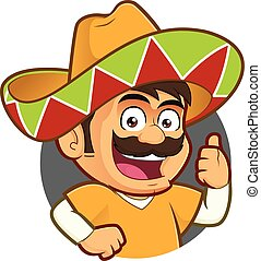 Mexican man giving thumbs up in round frame