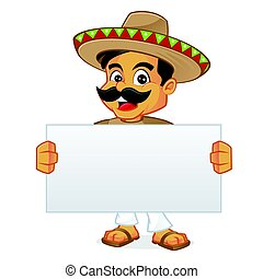 Mexican man holding blanks sign