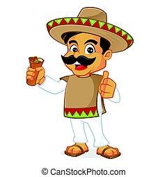 Mexican man holding burrito