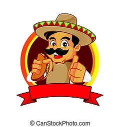 Mexican man holding taco and giving thumb up