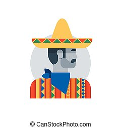 Mexican man in sombrero and poncho, side view turned head, brutal hero
