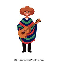 Mexican man in traditional national sombrero and poncho...
