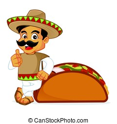 Mexican man leaning on taco isolated in white background