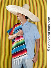 Mexican man serape poncho hat sombrero
