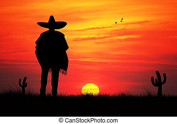 Mexican man silhouette